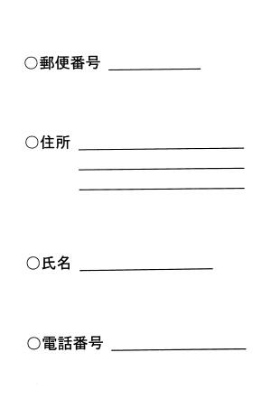 焼酎村尾の抽選販売に応募するはがきの記入例(裏面)