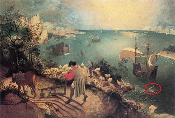 「イカロスの墜落のある風景」ブリューゲル画