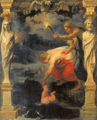 アキレウスをステュクスの流れに浸けるテティス
